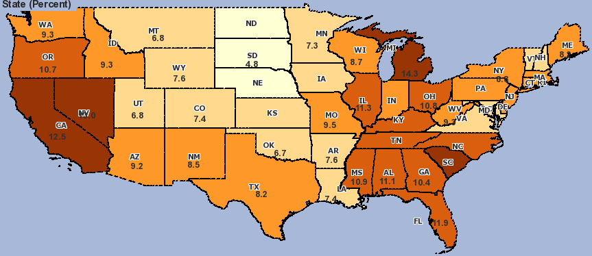 state unemployment Jan. 2010