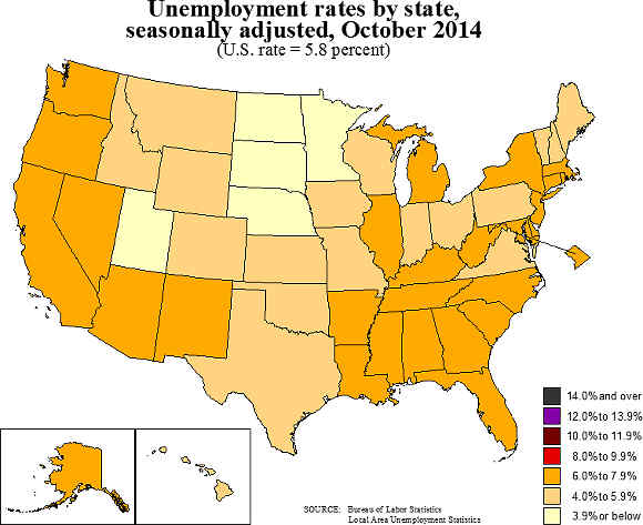 state unemployment map 10/14